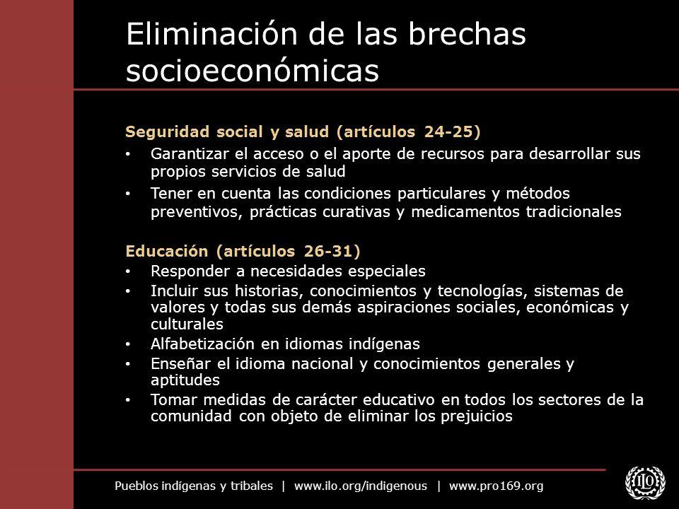 Pueblos indígenas y tribales   www.ilo.org/indigenous   www.pro169.org Eliminación de las brechas socioeconómicas Seguridad social y salud (artículos