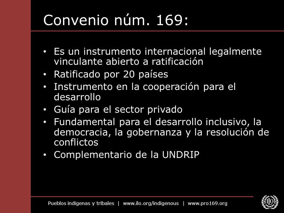 Pueblos indígenas y tribales   www.ilo.org/indigenous   www.pro169.org Convenio núm. 169: Es un instrumento internacional legalmente vinculante abiert