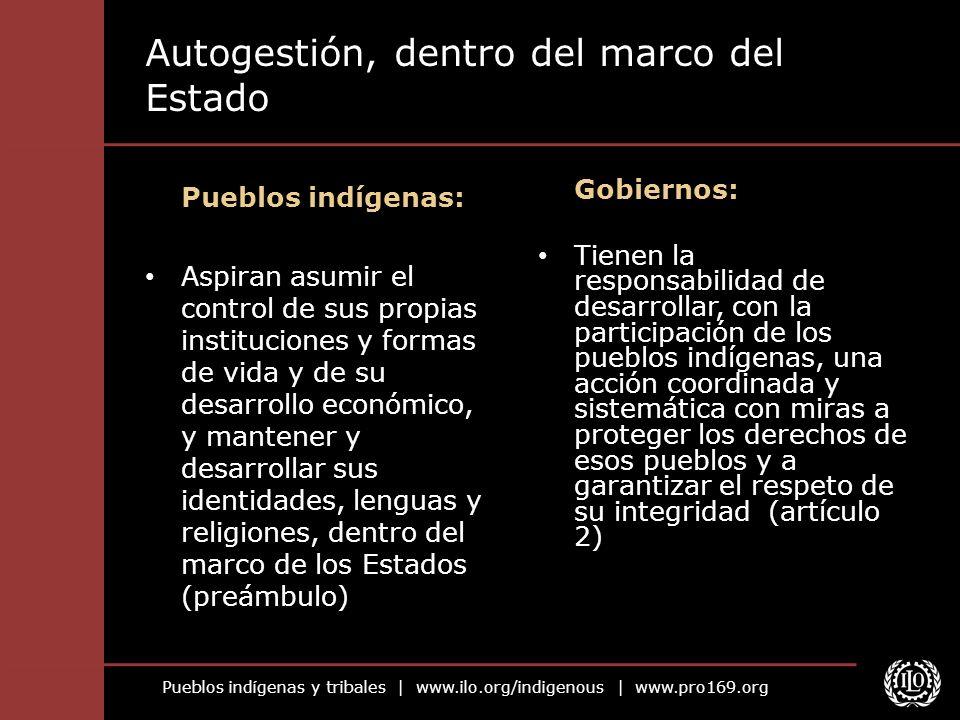 Pueblos indígenas y tribales   www.ilo.org/indigenous   www.pro169.org Autogestión, dentro del marco del Estado Pueblos indígenas: Aspiran asumir el c