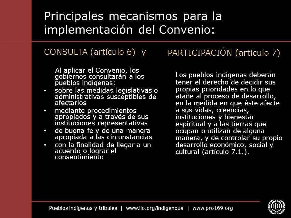 Pueblos indígenas y tribales   www.ilo.org/indigenous   www.pro169.org Principales mecanismos para la implementación del Convenio: CONSULTA (artículo
