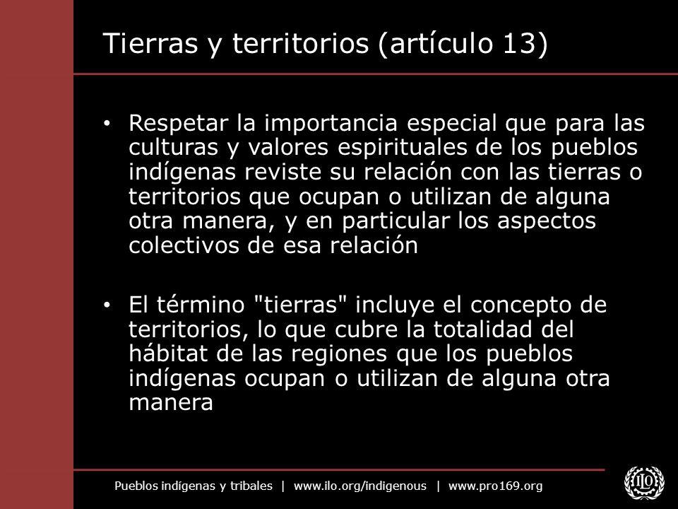Pueblos indígenas y tribales   www.ilo.org/indigenous   www.pro169.org Tierras y territorios (artículo 13) Respetar la importancia especial que para l