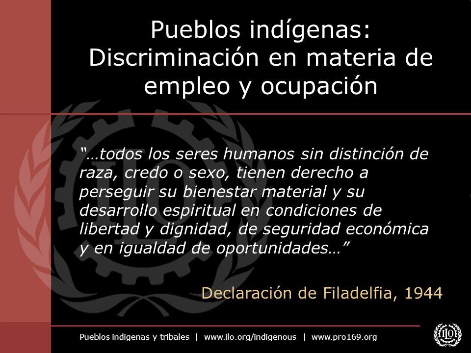 Pueblos indígenas y tribales   www.ilo.org/indigenous   www.pro169.org Discriminación contra los pueblos indígenas Han perdido el control de su senda de desarrollo a través de procesos históricos.
