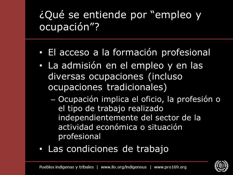 Pueblos indígenas y tribales | www.ilo.org/indigenous | www.pro169.org ¿Qué se entiende por empleo y ocupación? El acceso a la formación profesional L