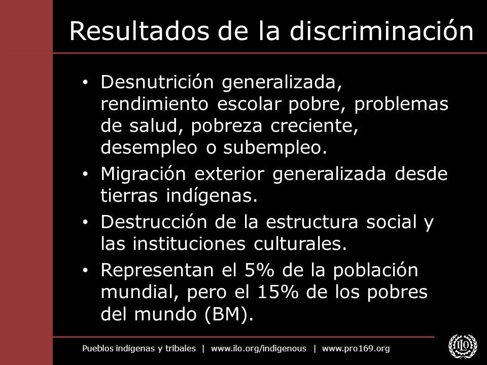Pueblos indígenas y tribales | www.ilo.org/indigenous | www.pro169.org Resultados de la discriminación Desnutrición generalizada, rendimiento escolar