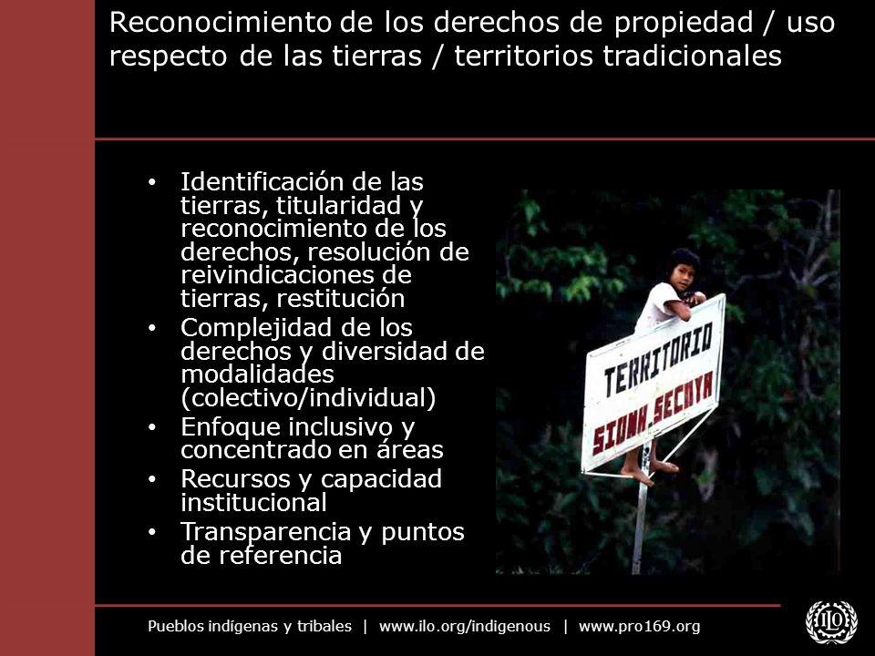 Pueblos indígenas y tribales | www.ilo.org/indigenous | www.pro169.org Reconocimiento de los derechos de propiedad / uso respecto de las tierras / ter