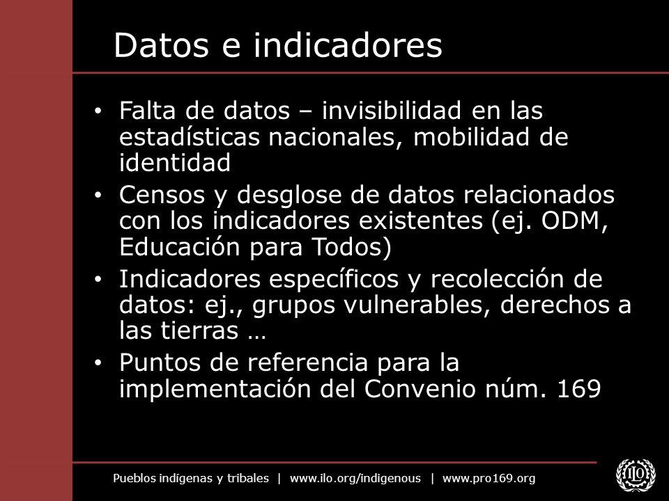 Pueblos indígenas y tribales | www.ilo.org/indigenous | www.pro169.org Datos e indicadores Falta de datos – invisibilidad en las estadísticas nacional