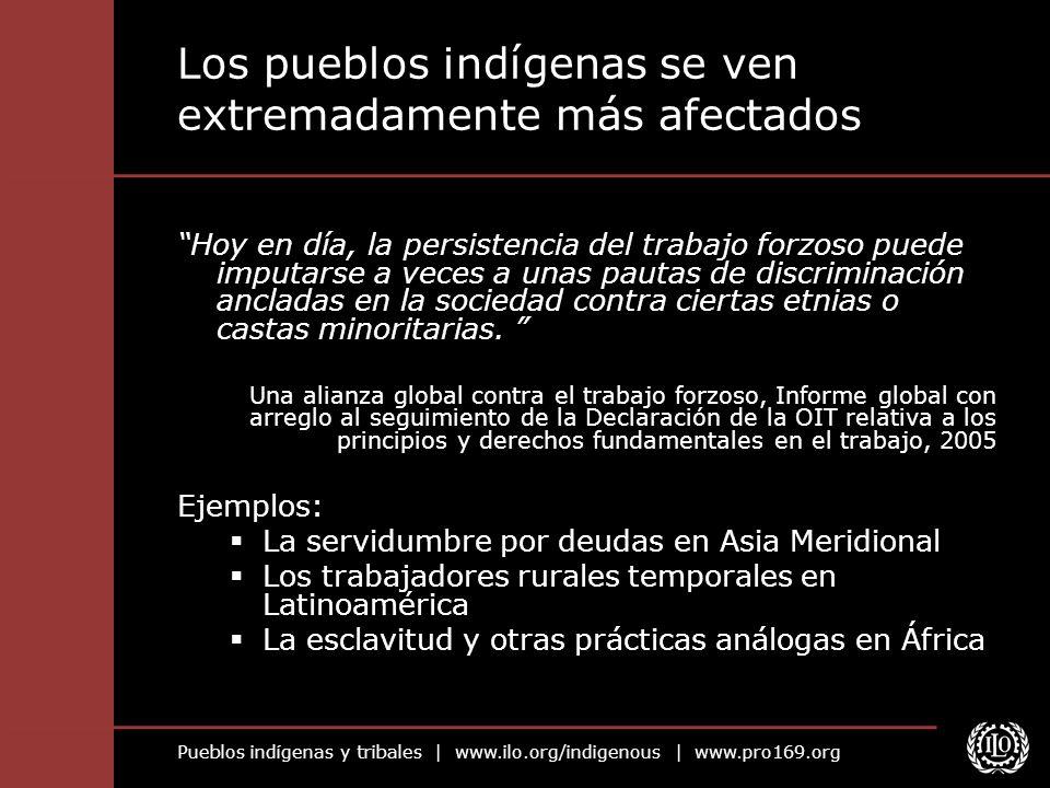 Pueblos indígenas y tribales | www.ilo.org/indigenous | www.pro169.org Los pueblos indígenas como víctimas del trabajo forzoso Los pueblos indígenas pueden estar en riesgo porque: No tienen acceso a tierras ni a recursos, no cuentan con títulos válidos y son privados de sus tierras.