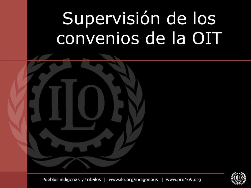 Pueblos indígenas y tribales | www.ilo.org/indigenous | www.pro169.org El sistema de supervisión de la OIT Mecanismos sistemáticos para examinar la implementación de los convenios de la OIT ratificados Diálogo continuo entre los gobiernos y la OIT Puede complementarse con cooperación técnica
