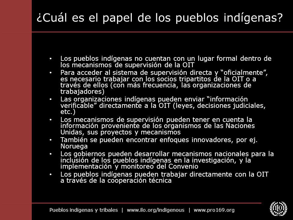 Pueblos indígenas y tribales | www.ilo.org/indigenous | www.pro169.org ¿Cuál es el papel de los pueblos indígenas? Los pueblos indígenas no cuentan co