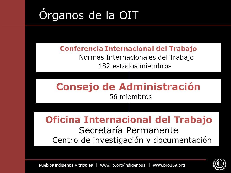 Pueblos indígenas y tribales | www.ilo.org/indigenous | www.pro169.org Órganos de la OIT Oficina Internacional del Trabajo Secretaría Permanente Centr