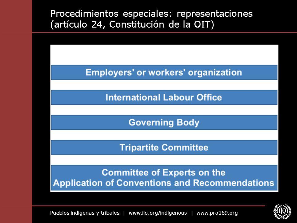 Pueblos indígenas y tribales | www.ilo.org/indigenous | www.pro169.org Procedimientos especiales: representaciones (artículo 24, Constitución de la OI