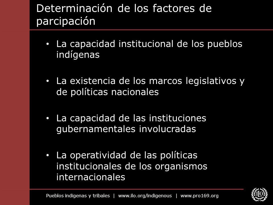 Pueblos indígenas y tribales | www.ilo.org/indigenous | www.pro169.org Determinación de los factores de parcipación La capacidad institucional de los