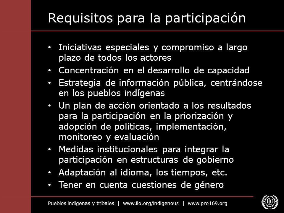 Pueblos indígenas y tribales | www.ilo.org/indigenous | www.pro169.org Requisitos para la participación Iniciativas especiales y compromiso a largo pl