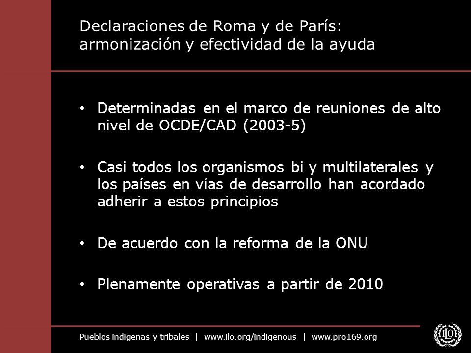 Pueblos indígenas y tribales | www.ilo.org/indigenous | www.pro169.org Declaraciones de Roma y de París: armonización y efectividad de la ayuda Determ