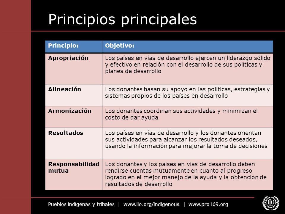 Pueblos indígenas y tribales | www.ilo.org/indigenous | www.pro169.org Principios principales Principio:Objetivo: ApropriaciónLos países en vías de de