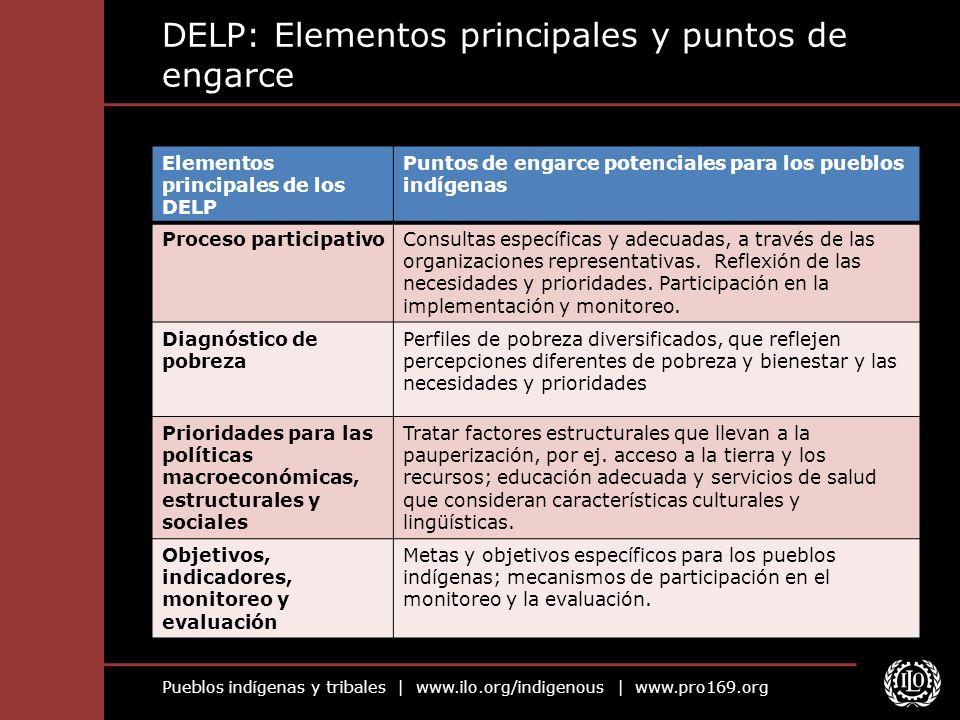 Pueblos indígenas y tribales | www.ilo.org/indigenous | www.pro169.org DELP: Elementos principales y puntos de engarce Elementos principales de los DE