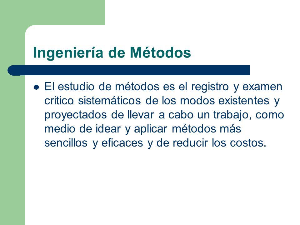 Ingeniería de Métodos El estudio de métodos es el registro y examen critico sistemáticos de los modos existentes y proyectados de llevar a cabo un tra