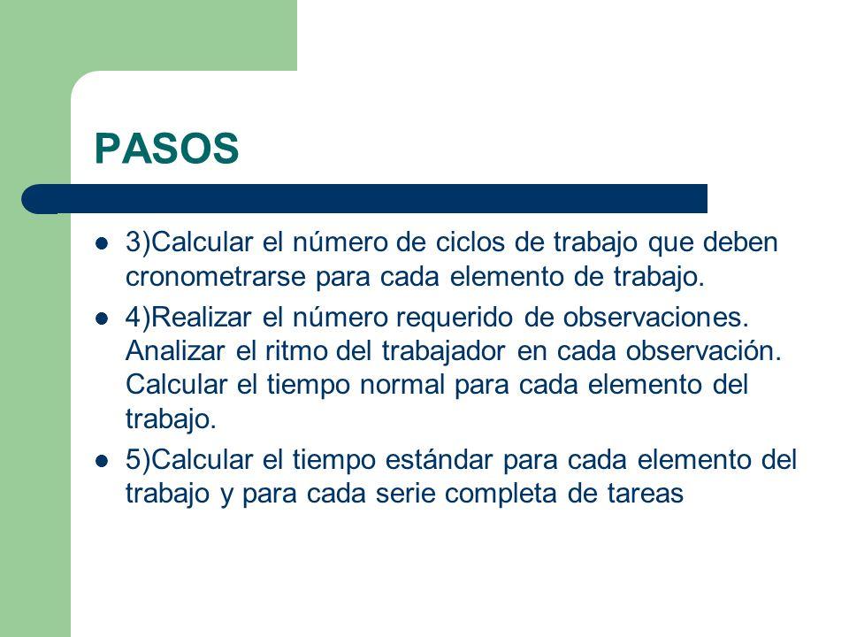 PASOS 3)Calcular el número de ciclos de trabajo que deben cronometrarse para cada elemento de trabajo. 4)Realizar el número requerido de observaciones