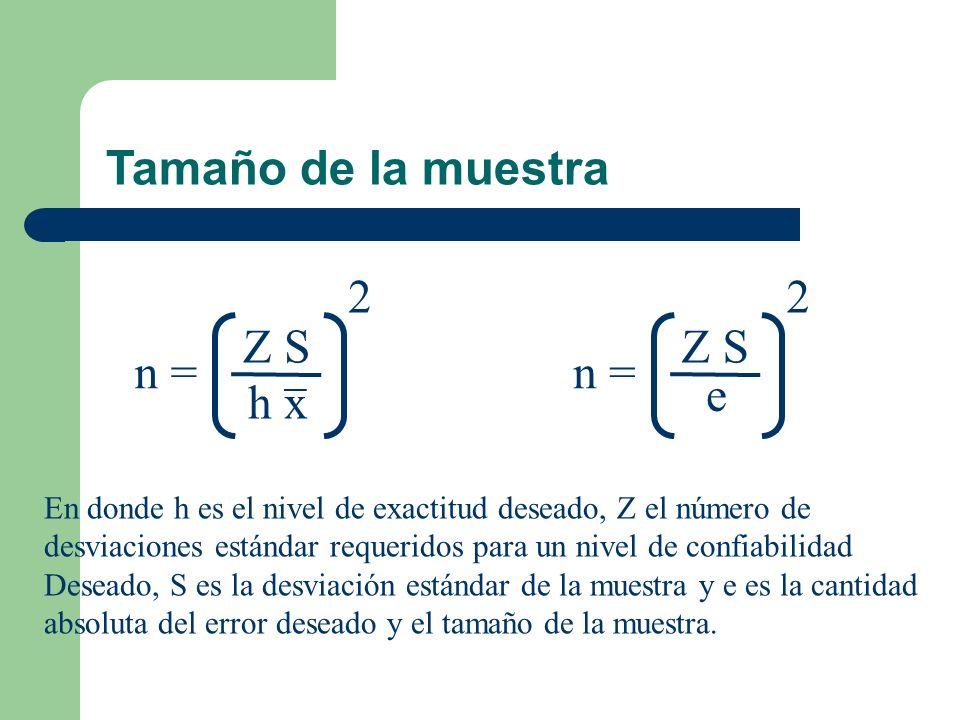 n = Z S h x 2 n = Z S e 2 En donde h es el nivel de exactitud deseado, Z el número de desviaciones estándar requeridos para un nivel de confiabilidad