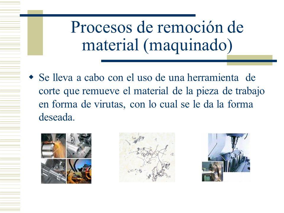 Procesos de remoción de material (maquinado) Se lleva a cabo con el uso de una herramienta de corte que remueve el material de la pieza de trabajo en