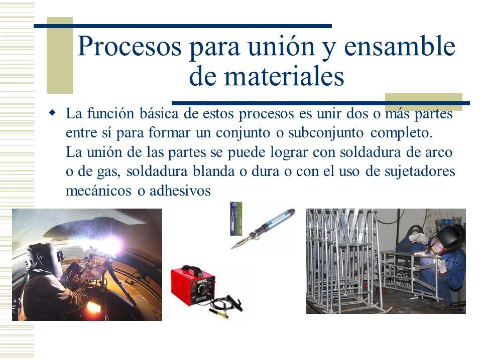 Procesos para unión y ensamble de materiales La función básica de estos procesos es unir dos o más partes entre sí para formar un conjunto o subconjun