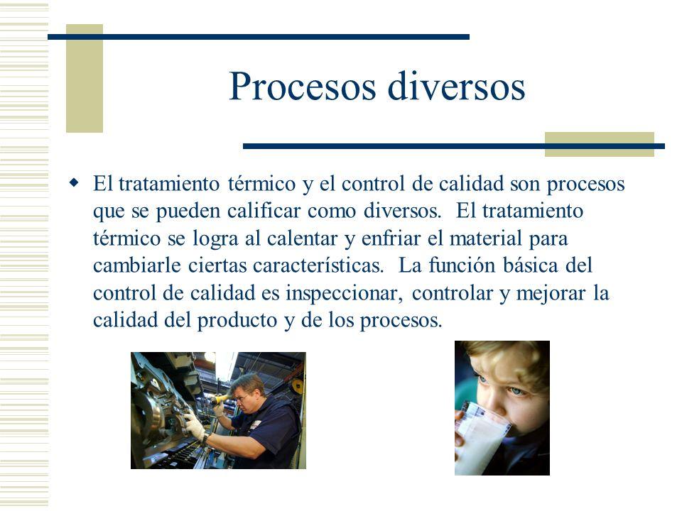 Procesos diversos El tratamiento térmico y el control de calidad son procesos que se pueden calificar como diversos. El tratamiento térmico se logra a
