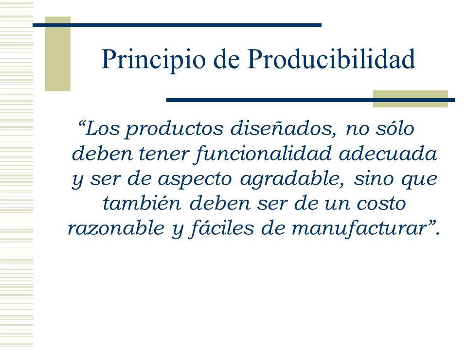 Principio de Producibilidad Los productos diseñados, no sólo deben tener funcionalidad adecuada y ser de aspecto agradable, sino que también deben ser