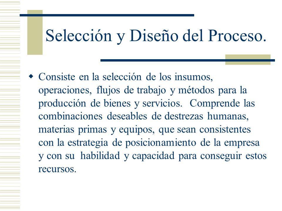 Selección y Diseño del Proceso. Consiste en la selección de los insumos, operaciones, flujos de trabajo y métodos para la producción de bienes y servi