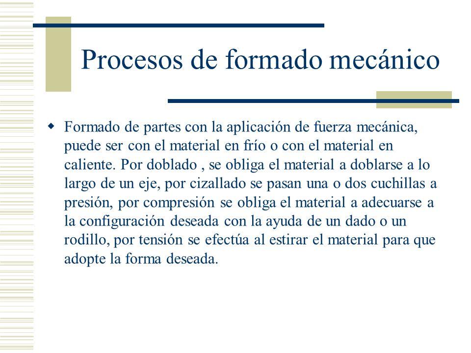Procesos de formado mecánico Formado de partes con la aplicación de fuerza mecánica, puede ser con el material en frío o con el material en caliente.