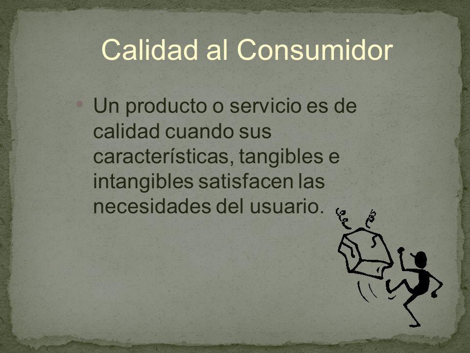 Calidad al Consumidor Un producto o servicio es de calidad cuando sus características, tangibles e intangibles satisfacen las necesidades del usuario.