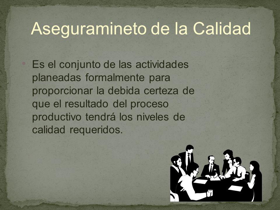 Aseguramineto de la Calidad Es el conjunto de las actividades planeadas formalmente para proporcionar la debida certeza de que el resultado del proceso productivo tendrá los niveles de calidad requeridos.