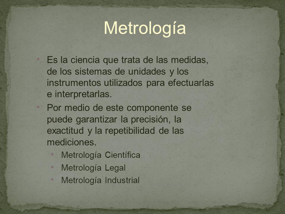 Metrología Es la ciencia que trata de las medidas, de los sistemas de unidades y los instrumentos utilizados para efectuarlas e interpretarlas.