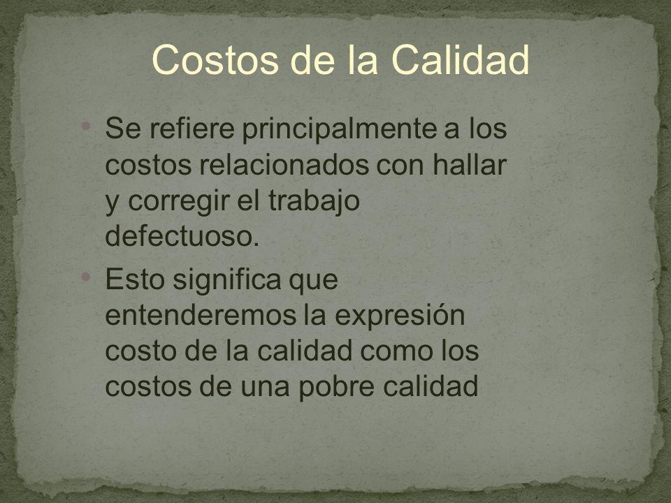 Costos de la Calidad Se refiere principalmente a los costos relacionados con hallar y corregir el trabajo defectuoso.