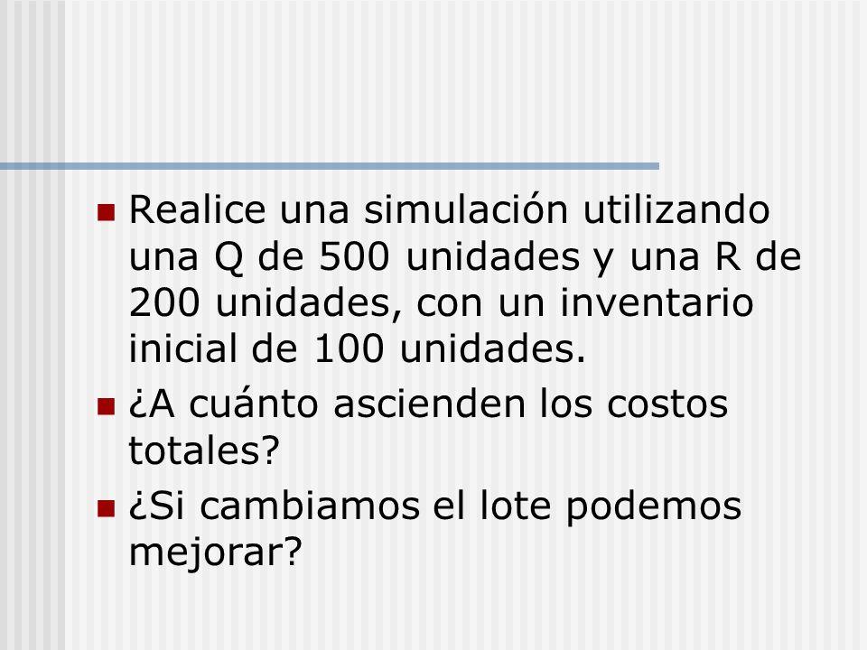 Realice una simulación utilizando una Q de 500 unidades y una R de 200 unidades, con un inventario inicial de 100 unidades.