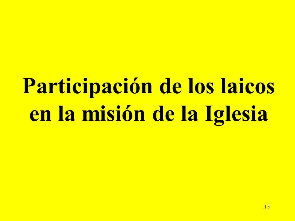 15 Participación de los laicos en la misión de la Iglesia