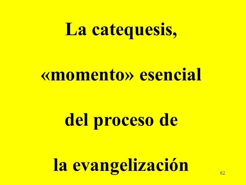 62 La catequesis, «momento» esencial del proceso de la evangelización