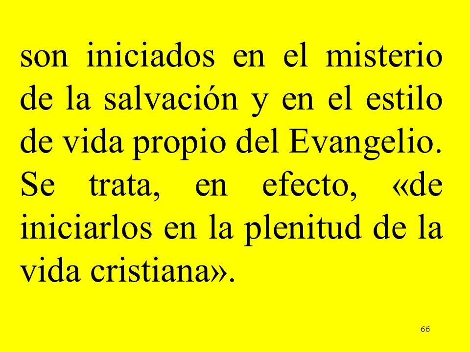 66 son iniciados en el misterio de la salvación y en el estilo de vida propio del Evangelio. Se trata, en efecto, «de iniciarlos en la plenitud de la
