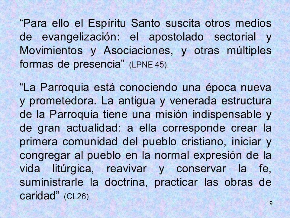 19 Para ello el Espíritu Santo suscita otros medios de evangelización: el apostolado sectorial y Movimientos y Asociaciones, y otras múltiples formas