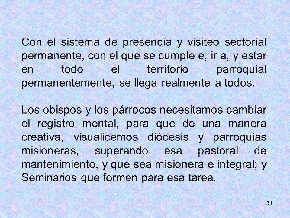 31 Con el sistema de presencia y visiteo sectorial permanente, con el que se cumple e, ir a, y estar en todo el territorio parroquial permanentemente,