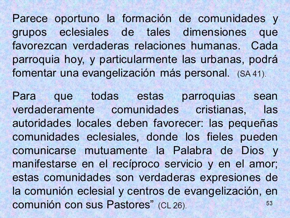 53 Parece oportuno la formación de comunidades y grupos eclesiales de tales dimensiones que favorezcan verdaderas relaciones humanas. Cada parroquia h