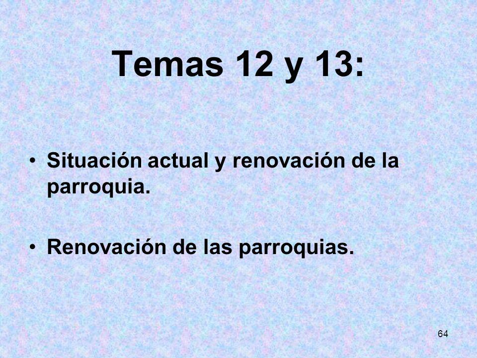 64 Temas 12 y 13: Situación actual y renovación de la parroquia. Renovación de las parroquias.