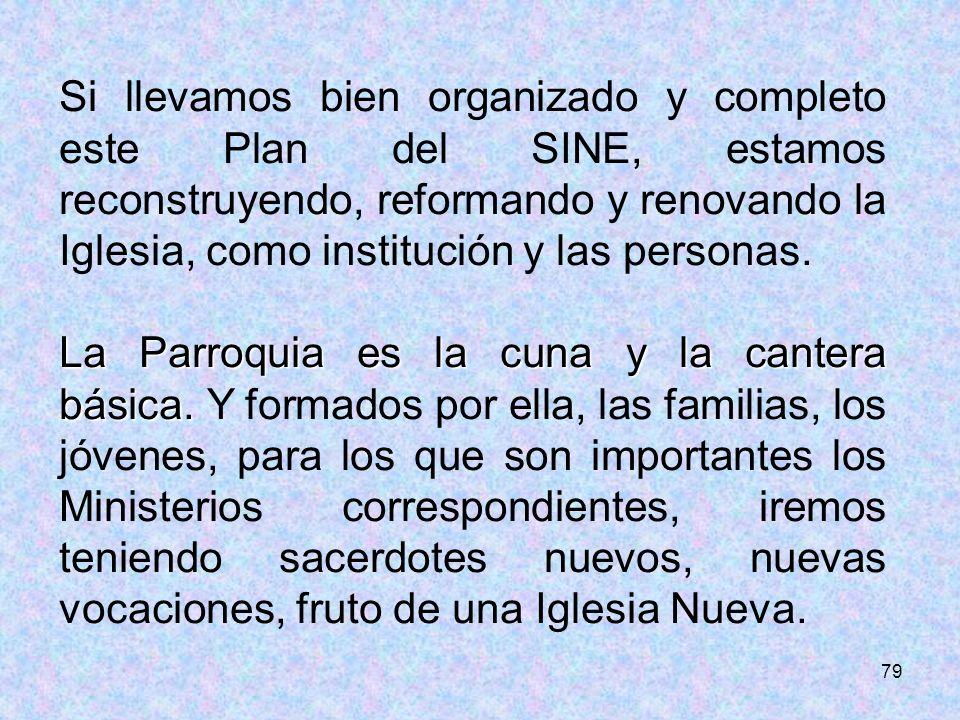 79 Si llevamos bien organizado y completo este Plan del SINE, estamos reconstruyendo, reformando y renovando la Iglesia, como institución y las person