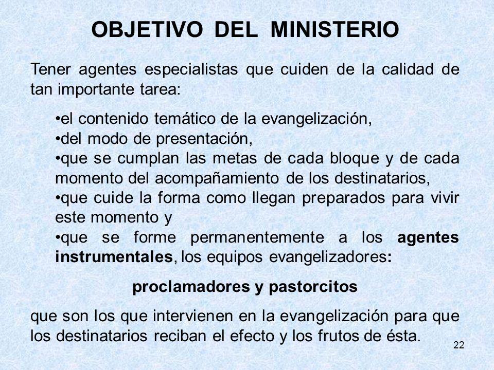 22 OBJETIVO DEL MINISTERIO Tener agentes especialistas que cuiden de la calidad de tan importante tarea: el contenido temático de la evangelización, d