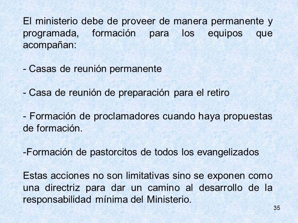 35 El ministerio debe de proveer de manera permanente y programada, formación para los equipos que acompañan: - Casas de reunión permanente - Casa de