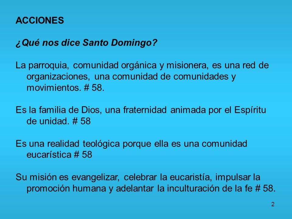 2 ACCIONES ¿Qué nos dice Santo Domingo? La parroquia, comunidad orgánica y misionera, es una red de organizaciones, una comunidad de comunidades y mov