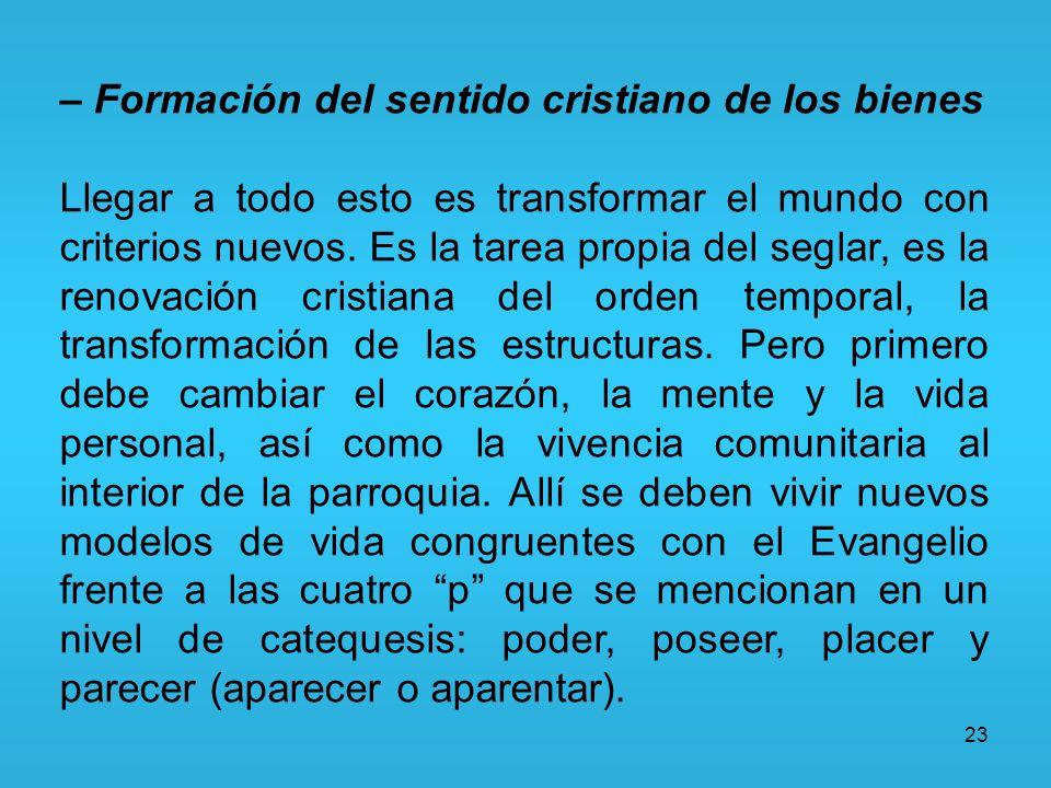 23 – Formación del sentido cristiano de los bienes Llegar a todo esto es transformar el mundo con criterios nuevos. Es la tarea propia del seglar, es