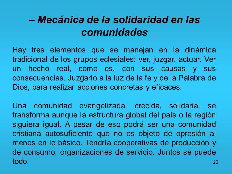25 – Mecánica de la solidaridad en las comunidades Hay tres elementos que se manejan en la dinámica tradicional de los grupos eclesiales: ver, juzgar,