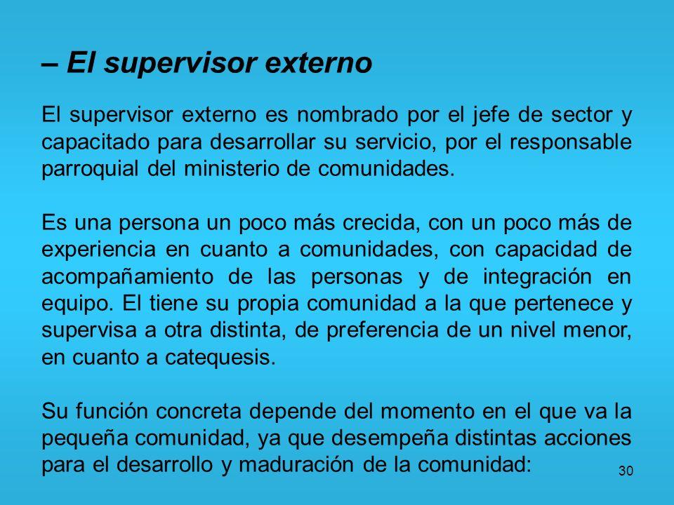 30 – El supervisor externo El supervisor externo es nombrado por el jefe de sector y capacitado para desarrollar su servicio, por el responsable parro