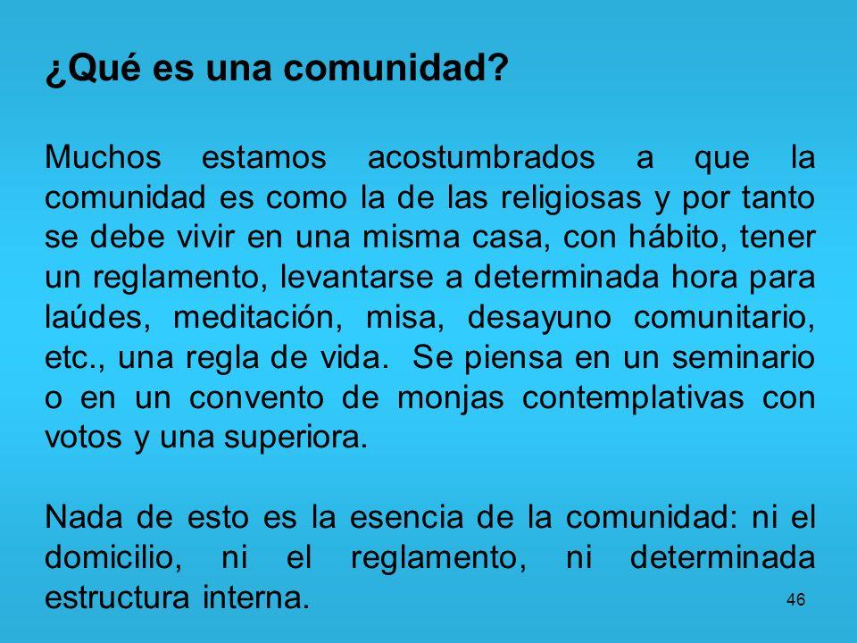 46 ¿Qué es una comunidad? Muchos estamos acostumbrados a que la comunidad es como la de las religiosas y por tanto se debe vivir en una misma casa, co