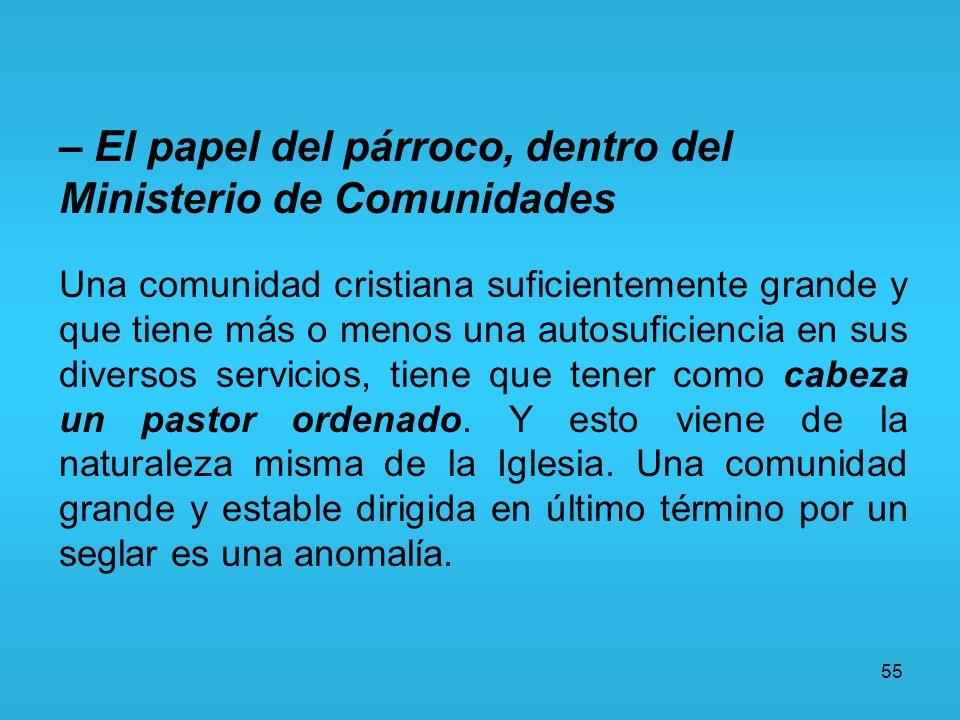 55 – El papel del párroco, dentro del Ministerio de Comunidades Una comunidad cristiana suficientemente grande y que tiene más o menos una autosuficie